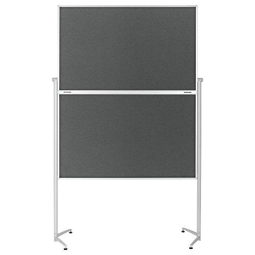 magnetoplan Moderationstafel klappbar Filz mit einklappbaren Standfüßen, inklusiv feststellbare Laufrollen, 120 x 150 cm, grau