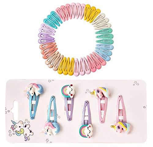 CYJZHEU Haarclips Mädchen, Mehrfarbige Haarspangen Haarklammern Metall Haarspangen Einhorn Regenbogen Haarspangen für Kinder Baby Kleinkinder Frauen Haarschmuck, 5 cm (46 STÜCKE)
