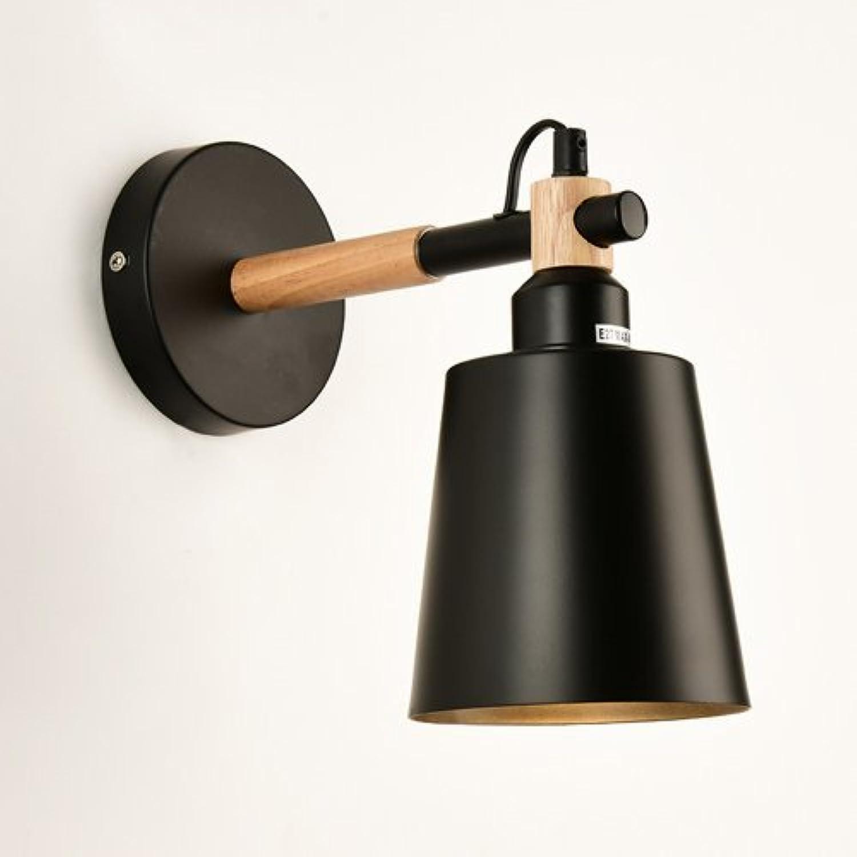 ZHANG NAN ●  Moderne Schwarze Metall Wandleuchte Lampe Einstellbar Holz Wandleuchte Studie Lesen Wandleuchten Einstellbar Licht Arm Wandlaterne für Schlafzimmer Wohnzimmer Büro (Gre  Stil B) ●