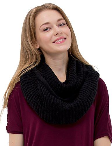 Women's Winter Warm Thick Chunky Rib Knit Infinity Loop Scarf Beauty Gift (black)