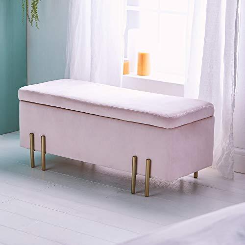 Beautify Aufbewahrungsbank Sitzbank Sitztruhen Footstool Aufbewahrungsbox Ottomane Stuhl Puff für Ankleidezimmer, Wohnzimmer, Schlafzimmer-Rosa Samt - 6