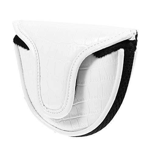 BESPORTBLE Golfschläger Putter Kopfbedeckung Mid Mallet Leder Golfschläger Putter Abdeckung Golftasche Zubehör für Männer Frauen Weiß