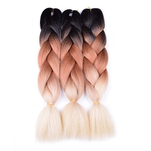 Ombre Braiding Hair (Black/Brown/Blonde 613) 3pcs Jumbo Braid Kanekalon Hair Extension Ombre Colors 3Tone Synthetic Braiding Hair for Box Braids Senegal Twist 24inch