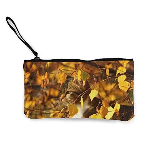 Herbst Katze Versteck Platz Herbst Laub Leinwand Münzbeutel Tasche Reißverschluss Kleine...