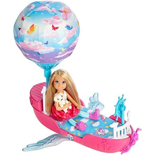 Barbie- Magica Chelsea con la Barca, Le Rotelle Nascoste e Le Ali Si Muovono, DWP59
