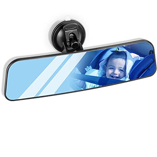 QUACOWW Auto Innenspiegel, Auto Rückspiegel mit Saugnapf Panorama Blendschutz Universal Innenspiegel Blau Glas Large Vision Weitwinkel Flacher Spiegel Montiert auf Windschutzscheibe (24 x 6.5 cm)