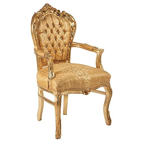 Poltrona Barocco - Stile Luigi XIV° - Sedia in Mogano Oro e Seta Oro Damascata
