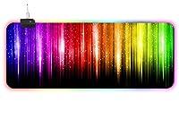 マウスパッド カラーラインの滝 拡張RGBゲーミングマウスパッドゲーマー防水コンピューターキーボードとマウスパッドに適した超大型ゲーミングマウスパッド 30*60cm