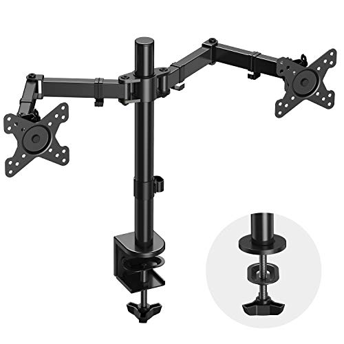 """Dual Monitor Arm Desk Vesa Mount Stand Fully Adjustable Two Mount Bracket for 13 to 27"""" Screens with Height/Angle Adjustable Tilt/Swivel/Rotation, 17.6lbs per Arm-2 Installation Options by USX MOUNT."""