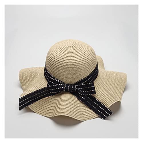 Sombreros De La Moda De Las Mujeres De Verano Solar CAP UV Playa Sun Visor Ancho Rolling Rolling Floppy Plate (Color : Beige, Size : 56 58cm)