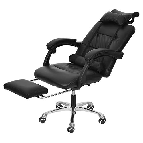 Bazahy US Fast Shipment Executive Swivel Office Chair with Footrest Lumbar Support and Headrest,PU Leather Ergonomic Reclining Chair Adjustable High Back Armchair Computer Napping Chair (Black)