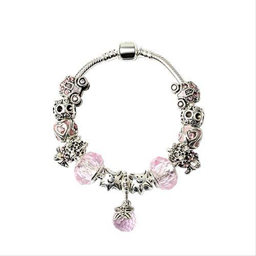ZSCRL Europäische und amerikanische Frauen Legierung diamantbesetzte Schafe Muster schmuck, Mode Tandem Glas Armband Lange 20 cm Silber Pulver perlen