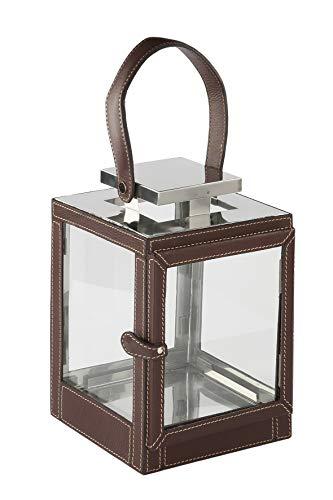 Fink Laterne Maretti - Leder braun Höhe 27 cm Länge 17 cm Breite 17 cm