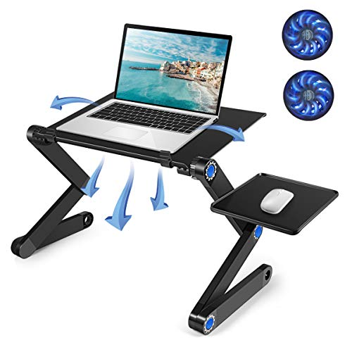 Laptop Table, Adjustable Laptop Bed Table, Portable Computer Notebook Stand with 2 CPU Cooling Fans - Birthday Gifts, Ergonomic Lap Desk TV Bed Tray Standing Desk for Bed/Recliner/Sofa/Couch/Office