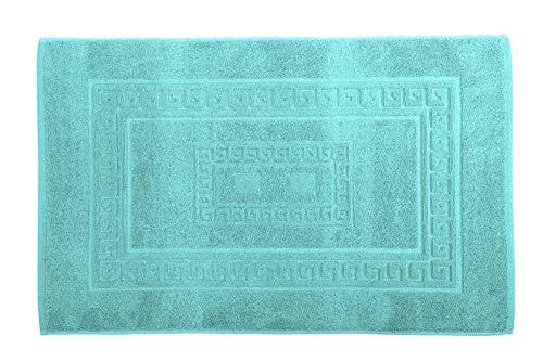 HomeLife - Tappeto Bagno Rettangolare in Cotone, Alta qualità Made in Italy - Scendi Doccia Colorato Lavabile in Lavatrice - Stile Classico ed Elegante [Acquamarina - 60X120]