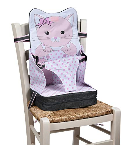 Baby Polar Gear Portable Booster Seat – A take-Anywhere highchair with Integrated Storage Pocket – for Toddlers Aged 18–36 Months – Lightweight, Safe and Easy-to-Clean – Pink Kitten Design