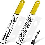 LEMCASE Zester, Rallador de queso, rallador de parmesano, rallador de limón, rallador de cocina de acero inoxidable con cubierta protectora y mango de silicona, color amarillo (juego de 2)