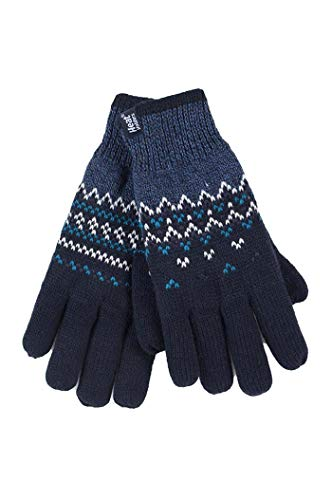 HEAT HOLDERS - Damen Winter Fleece Strick Elegant Norwegermuster Handschuhe (M/L, Navy (Trondheim))