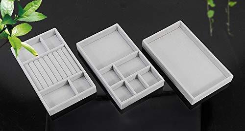 3PCS / Set Schublade Samt Schmuck Aufbewahrung Tablett Ring Armband Geschenkbox Schmuck Organizer Ohrringhalter Schmuck Vitrine - grau 1