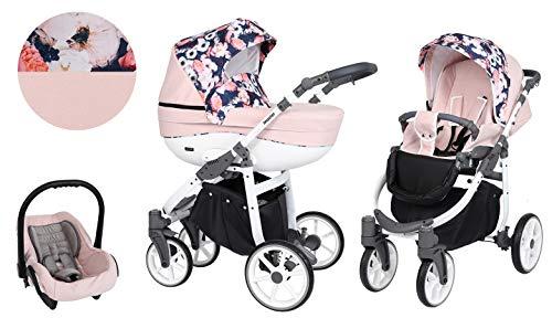 Kinderwagen Kunert MASTER 3 in 1 Sportwagen Babywagen Autositz Babyschale NEU (Rosa + Blumen, Rahmenfarbe: Weiß)