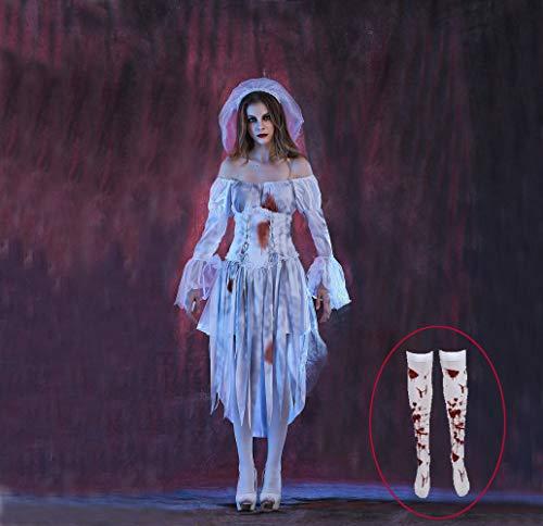Passen Blutig Schwester Maria Kostüm Ghost Braut Zombie Krankenschwester Kostüme Zombie Braut Blut Befleckt Strümpfe Halloween Funcy Kleid Cosplay Geist Stadt,Dorf Karneval Weiß M L Xl Vampir/W