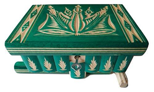 Nueva hermosa caja mágica, misteriosa caja, puzzle caja, caja secreta, hecha a mano, casilla complicado, caja de madera tallada, regalo perfecto, juguete de madera (Verde)