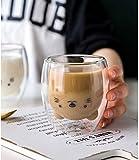 EKUEE Creative Cute Bear Double-Layer Coffee Mug DoubleGlass Cartoon Baby Duckling Animal Milk Glass Lady Cup