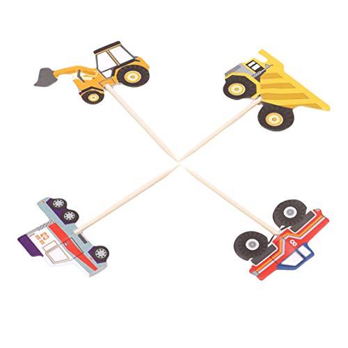Kyoidy 24 pcs/Ensemble Camion Tracteur Excavator Dumpers Voiture Cupcake Décoratif Cupcake Topper pour la Fête des Enfants, Décorations De Gâteau De Choix De Parti