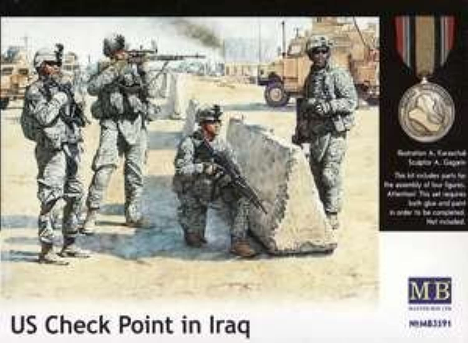 Masterbox 1 35 Scale US Check Point in Iraq Assembly Parts
