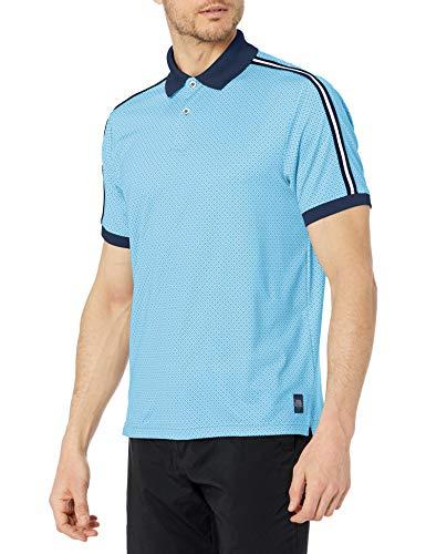 PGA TOUR Herren Short Sleeve Eco Allover Printed Polo Shirt Golfhemd, Gulf Stream, Klein