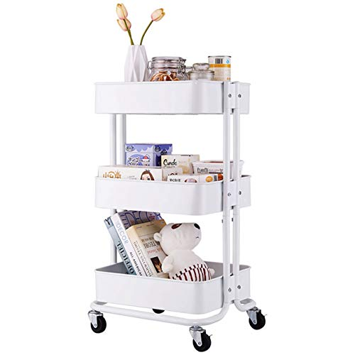 3-Tier Home Kitchen Storage Utility cart-White Utility Storage Organizer Shelf Rack for Kitchen Living Room Bathroom