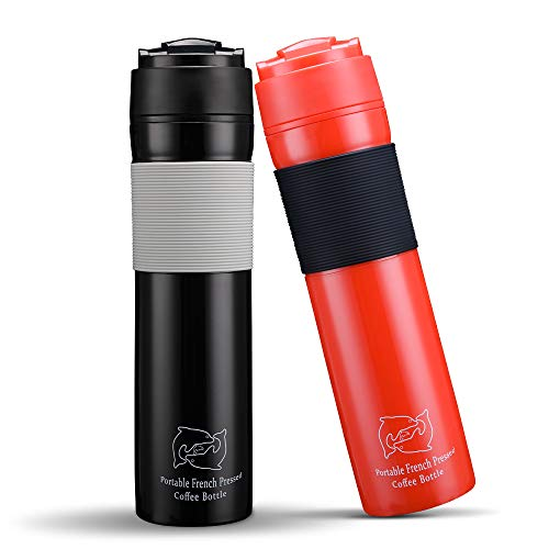 BRBHOM Set of 2 Portable Travel French Press Coffee Mug and Tea Black Red for Couple(Black/Red)