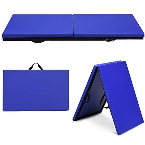 COSTWAY 180x60x4cm Weichbodenmatte, 2 Fach klappbare Gymnastikmatte, Yogamatte mit Klettverschluss und 2 Tragegriffe, Klappmatte, Turnmatte für Gymnastik, Yoga, Fitness und Training (Blau)