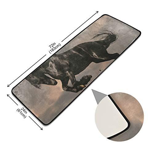 XiangHeFu Anti Skid Zwart Friese Hengst Paard In Zonsondergang Rug Rusten Tapijt Pads Vloer Deurmat Niet Slip