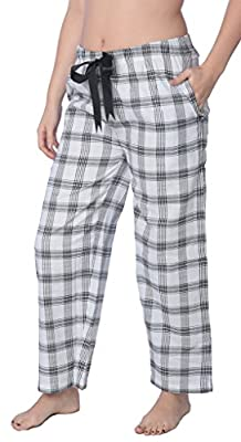 Women's 100% Cotton Plaid Long Lounge PantsPajama Pants Available in Plus Size Y18_Long_JLP White 2X from