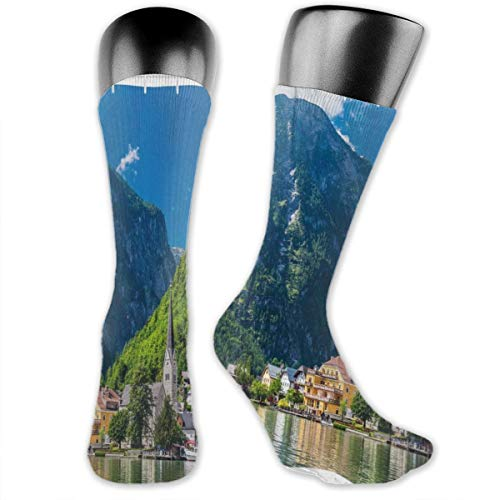 Preisvergleich Produktbild Papalikz Compression Medium Calf Socks, Natural View Of Hallstatt In Austria Mountains Forest Town Houses Clear Sky