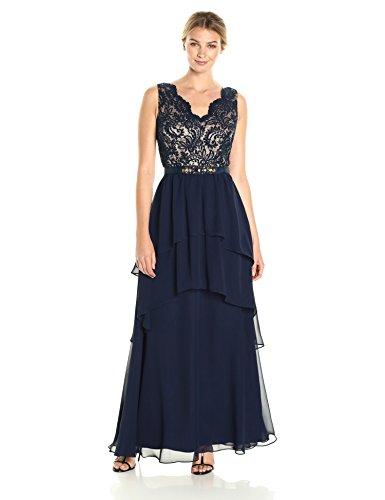 Eliza J womensEJ7M5740V-neck Sleeveless Gown Sleeveless Dress - Blue - 12