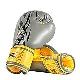 ZZBB Guantes De Boxeo De Alta Gama Transpirable Y Cómodo Antivibraciones PU Guantes De Kickboxing De Piel Sparring Guantes para Hombres Y Mujeres,14 oz