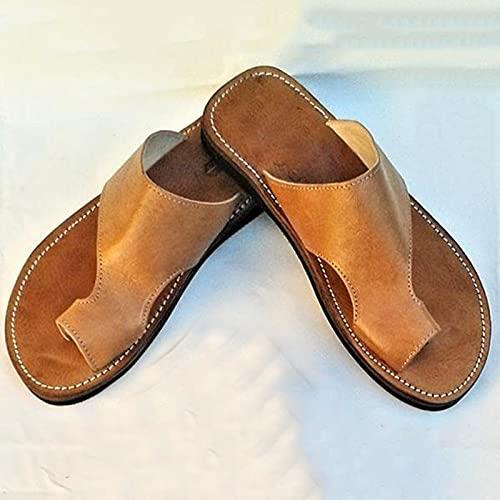 ZQHNA Men's Retro Summer Push Toe Beach Sandals,Men's Leather Hollow Athletic Sandals,Men's Handmade Sandals,Men's Leather Casual Push Toe Sandals,Push Toe Sandals for Men (Khaki, 9.5)