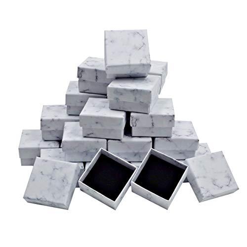 ZERONOWA アクセサリー ギフトボックス 大理石風 ラッピングボックス ジュエリー プレゼント (5�p×5�p×3�p(24個セット))
