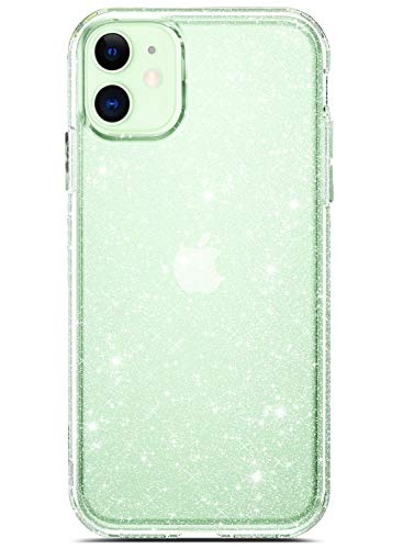 Coolwee Clear Glitter for iPhone 12 Case Shockproof Protective Sparkle Women Girls Sturdy Flexible TPU Bumper Cover Compatible with Apple iPhone 12 6.1 inch Shiny Crystal Bling Transparent