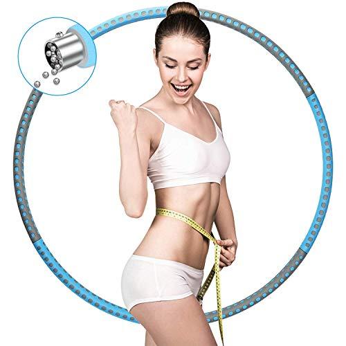 Lineluck Hula Hoop Reifen Erwachsene, 37.5 Zoll Fitnessreifen mit Premium Schaumstoff, Abnehmbarer&Füllung, Hula Hoop Reifen von 1bis 3.2kg, für Erwachsene oder Kinder (Grau Blau)