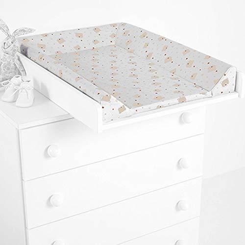 Cambiador con tapizado osos corazones, color blanco y beige