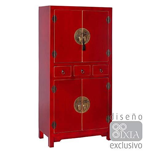PEÑA VARGAS Mueble Auxiliar-Armario Oriente Rojo 4 Puertas 2 Cajones (63x33x131), Madera, 63x33x131 cm