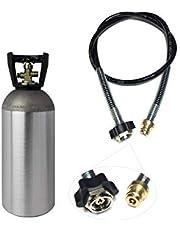 Ekonomiskt set: CO2-adapter högtrycksslang 1,0 m + 2 kg flaska CO2 lämplig för vattenkolatorer Grohe Blue Home Transfer CO2-slang