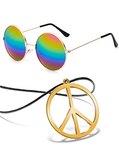 BOMAIL Hippie Dressing Accessory Set Hippie Glasses and Peace Sign Pendant Necklace for Women Men