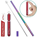Reusable Collapsible Straw, Rainbow 9.25'' Telescopic Stainless Steel Metal Straw, Portable Drinking Straw perfect for Hot Drink, Coffe, Juice, Milkshake - Great Gifts for Mother's Day Valentine's Day