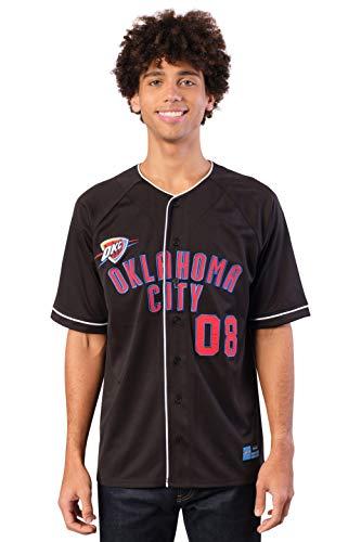 Ultra Game NBA Oklahoma City Thunder Mens Mesh Button Down Baseball Jersey Tee Shirt, Black, Medium