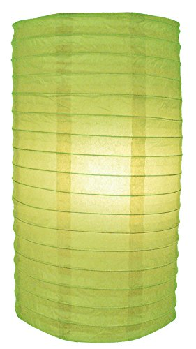 "Quasimoon PaperLanternStore.com 8"" Light Lime Cylinder Paper Lantern"