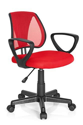 hjh OFFICE 725103 Kinder- und Jugenddrehstuhl KIDDY CD Netzstoff Rot höhenverstellbare Rückenlehne, Stuhl mit Armlehnen